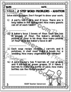 2 Step Word Problems Addition Worksheet