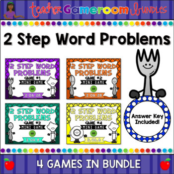 2 Step Word Problems Mini Powerpoint Game Bundle