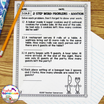2 Step Word Problems Worksheet Bundle