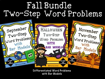 2-Step Word Problems with Bar Models FALL Bundle - 3 Units Math Problem Solving