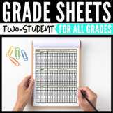 2-Student Grade Sheets Editable Grade Sheets for Two Students