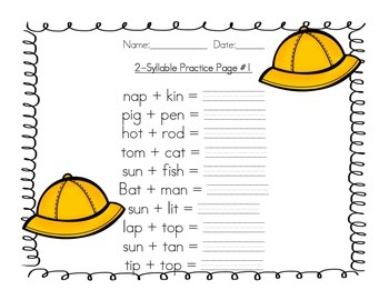 2 Syllable Word Practice Pack