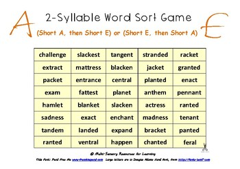 2 Syllable Word Sort Game
