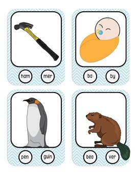 2 Syllable Words with Fingerprint Prompts - Marking Syllables - Phonology