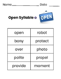 2 Syllable Words with Open Syllable O
