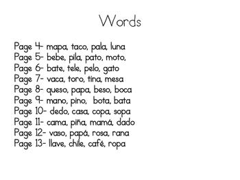 2 Syllable word activity (Spanish) - Silabas