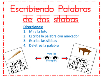 2 Syllable word activity (Spanish) - Silabas