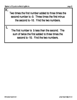 2 Systems of Equations MatchingMania with Story Problems