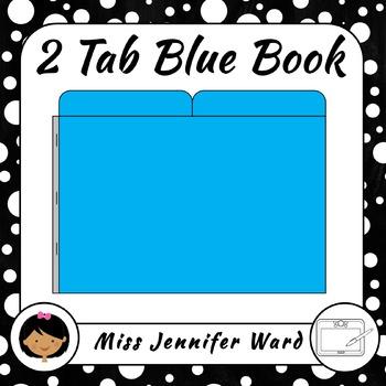 2 Tab Blue Book Clipart Set