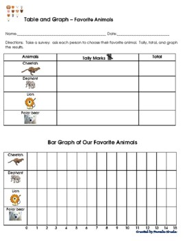 2 Tally Marks Tables & Bar Graphs - Favorite animals & pets