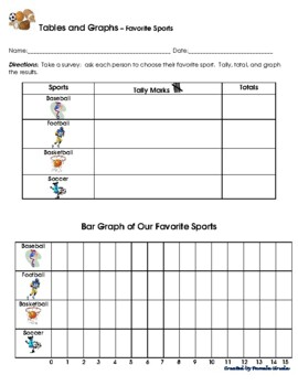 2 Tally Marks Tables & Bar Graphs - Favorite sports & subjects