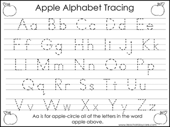2 Task Worksheets. Apple Trace the Alphabet and Numbers 1-20. Preschool-KDG.