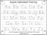 2 Task Worksheets. Apple Trace the Alphabet and Numbers 1-