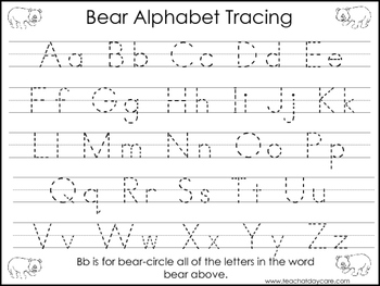 2 Task Worksheets. Bear Trace the Alphabet and Numbers 1-2