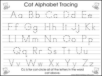 2 Task Worksheets. Cat themed Trace the Alphabet and ...