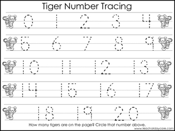 2 Tiger themed Task Worksheets. Trace the Alphabet and Numbers 1-20. Preschool
