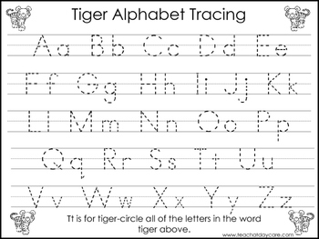 2 Tiger themed Task Worksheets. Trace the Alphabet and Num