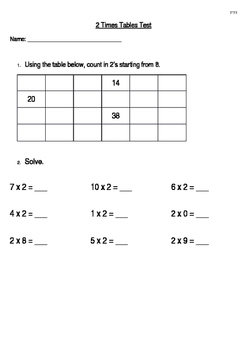 2 Times Table Test
