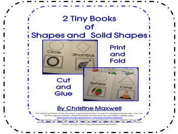 Tiny Books 2 Books of 2D and 3D Shapes Print, Fold, Cut and Glue