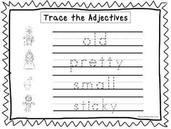 2 Trace the Adjectives Worksheets. Preschool-KDG Handwriting.