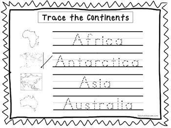 2 Trace the Continents Worksheets. Preschool-KDG Geography.