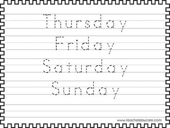 2 Trace the Days of the Week Worksheets. Preschool-KDG Handwriting.