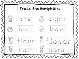 2 Trace the Homophones Worksheets. Preschool-KDG Handwriting.