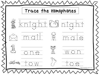 2 Trace the Homophones Worksheets. Preschool-KDG Handwriting.