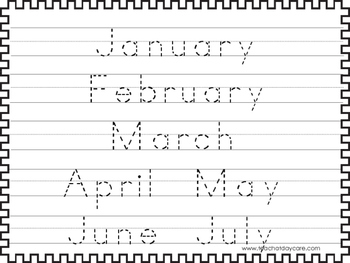 2 Trace the Months of the Year Worksheets. Preschool-KDG ...