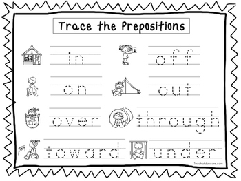 2 Trace the Prepositions Worksheets. Preschool-KDG Handwriting.