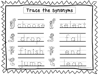 2 Trace the Synonyms Worksheets. Preschool-KDG Handwriting.