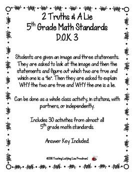 32 Different 2 Truths & A Lie 5th Grade Math Standards D.O.K. 3