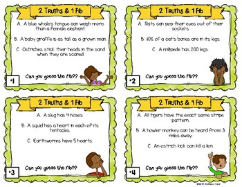 2 Truths and 1 Fib Task Cards - Animal Theme