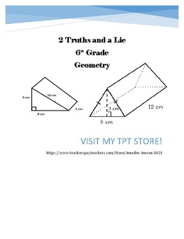 2 Truths and a Lie 6th Grade Geometry