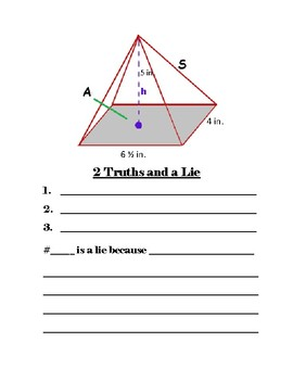 2 Truths and a Lie 7th Grade Geometry