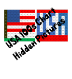 2 USA America Patriotic 100s Chart Mystery Pictures, Color by Number