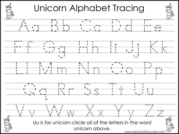 2 Unicorn themed Task Worksheets. Trace the Alphabet and ...