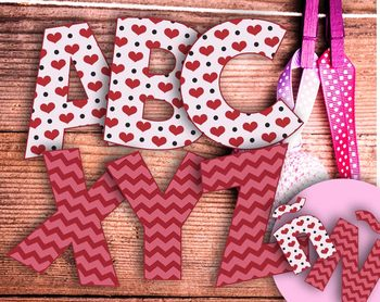 "2 Valentine's Alphabets–Hearts and Chevrons-Latin Accents-6"" Clip Art Letters"