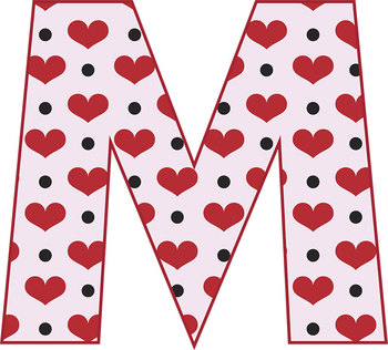 """2 Valentine's Alphabets–Hearts and Chevrons-Latin Accents-6"""" Clip Art Letters"""