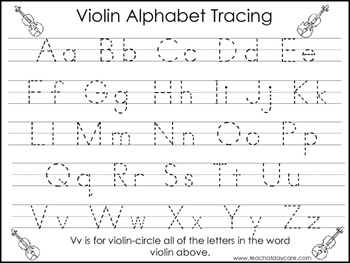 2 Violin themed Task Worksheets. Trace the Alphabet and Nu