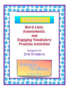1 Vocabulary List Assessments Activities 2nd Grade FREEBIE