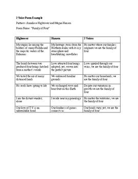 2 Voice Poem Example