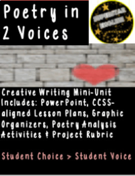 2 Voices Poetry Spoken Word Creative Writing Close Reading 9th 10th 11th 12th