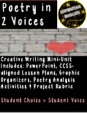 Poetic License: 2 Voices Poetry Spoken Word Creative Writing 9th 10th 11th 12th