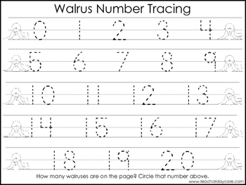 2 Walrus themed Task Worksheets. Trace the Alphabet and Numbers 1-20. Preschool