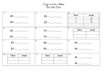 2 Ways to Write a number Place Value Scoot