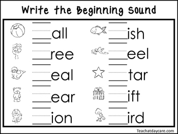 2 Write the Beginning Sounds Worksheets. Preschool-KDG Handwriting.