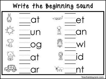 2 Write the Beginning Sounds Worksheets. Preschool-KDG Handwriting.