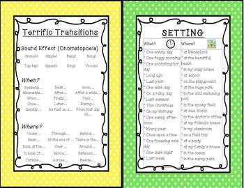 2 Writing Posters -  Terrific Transitions and Setting (When? & Where?)