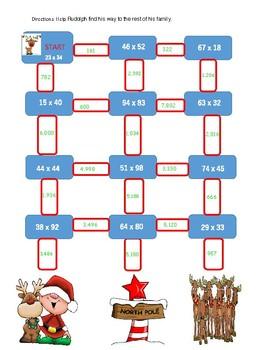 Christmas 2 X 2 multiplication maze